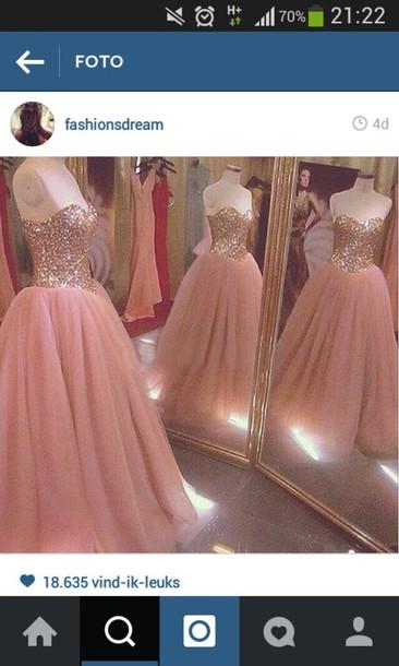 dress pink dress glitter dress prom dress