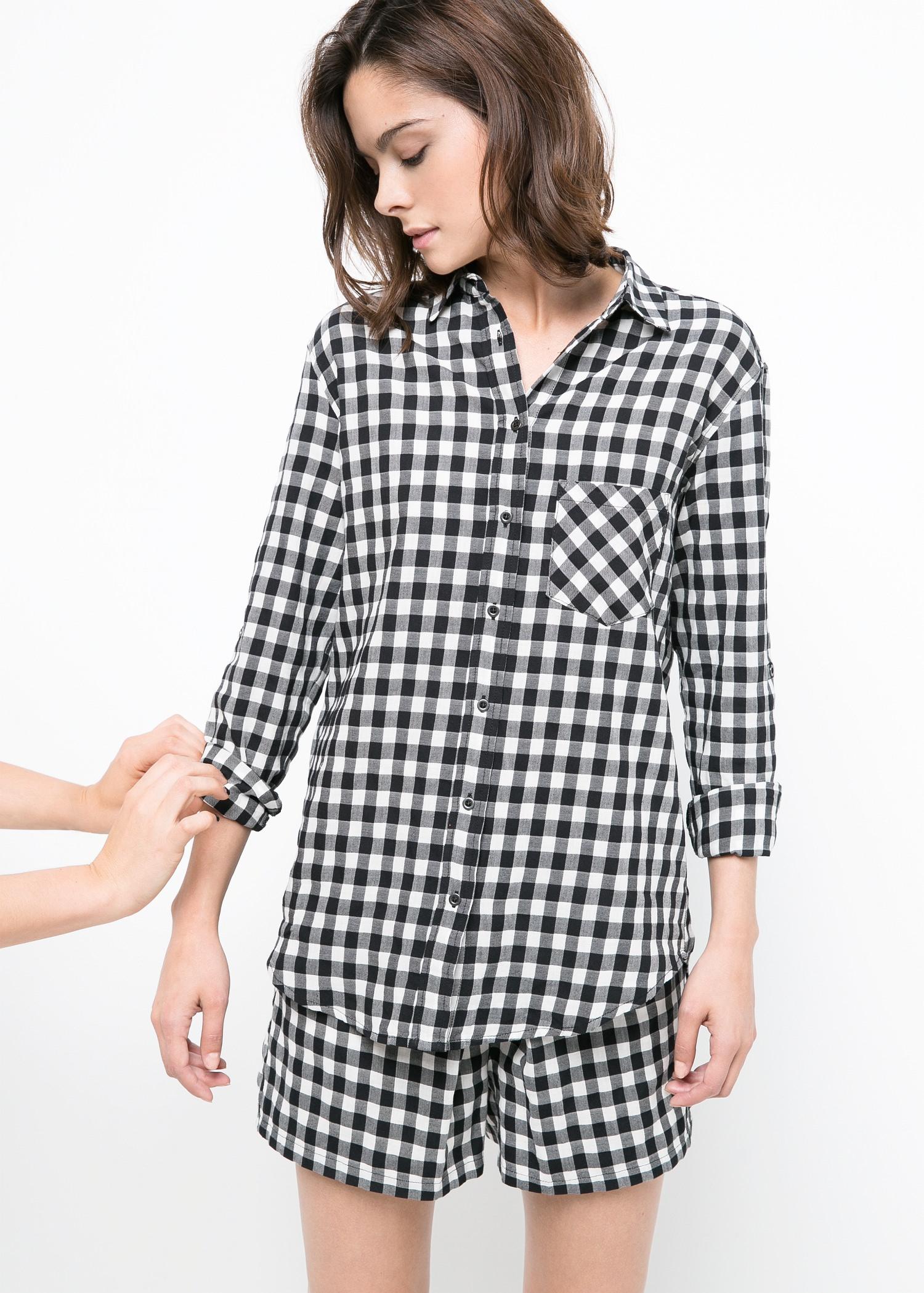 Chemise bicolore carreaux - Blouses et chemises pour Femme | MANGO