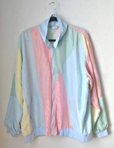 Jacket Pastel Vintage 80s Style Windbreaker 80s Style