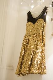 dress,glitter,gold,sequins,mesh,fancy,gold sequins black skater dress,sparkle,little black dress,cute,party,black,gold sequins,sweetheart