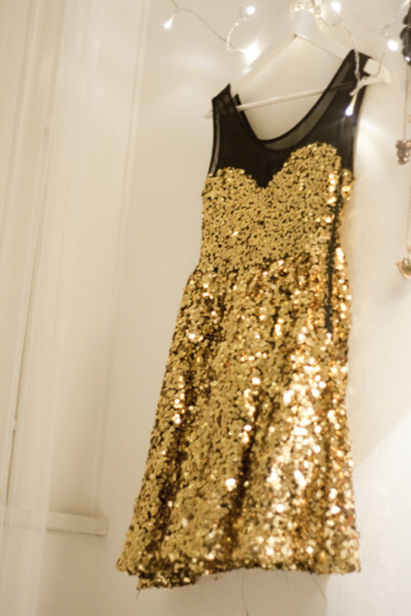 dress glitter gold sequins mesh fancy gold sequins black skater dress sparkle little black dress cute party black gold sequins sweetheart sparkle