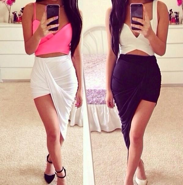 skirt wrap maxi skirt shirt white crop tops tank top