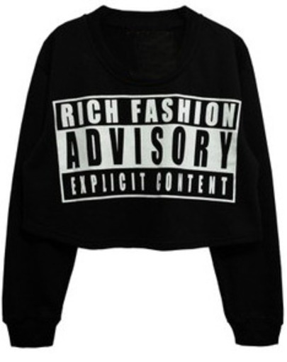 Black Round Neck ADVISORY Print Crop Sweatshirt - Sheinside.com