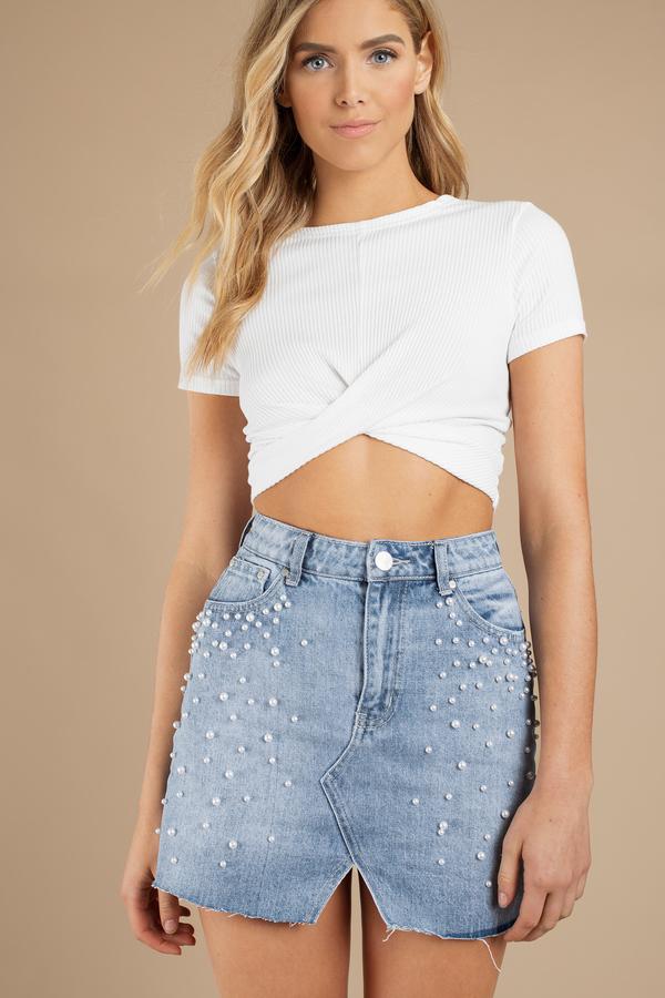 Catalina Pearl Light Wash High Waisted Denim Skirt