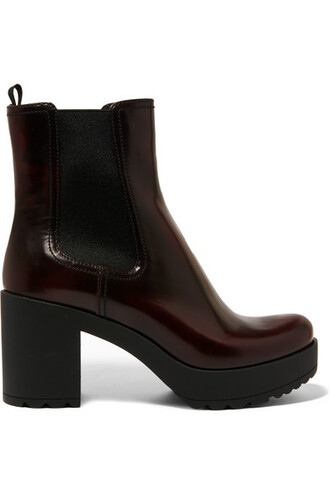 boots chelsea boots leather burgundy shoes