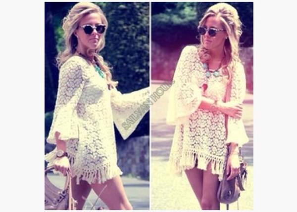 dress hippie boho vintage fashion clothes clothes summer summer dress lace up