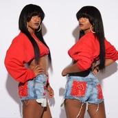 sweater,clothes,women,dope,fashion,toronto,cdtq,red,crop tops,bandana,high waisted jeans,high waisted denim shorts,shorts