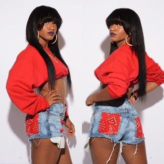 sweater clothes women dope fashion toronto cdtq red crop tops bandana high waisted jeans high waisted denim shorts shorts