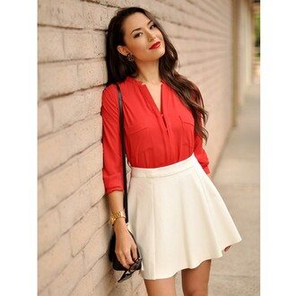 hapatime girly office office outfits red shirt long sleeves long sleeve shirt white skirts white skirt hapa time