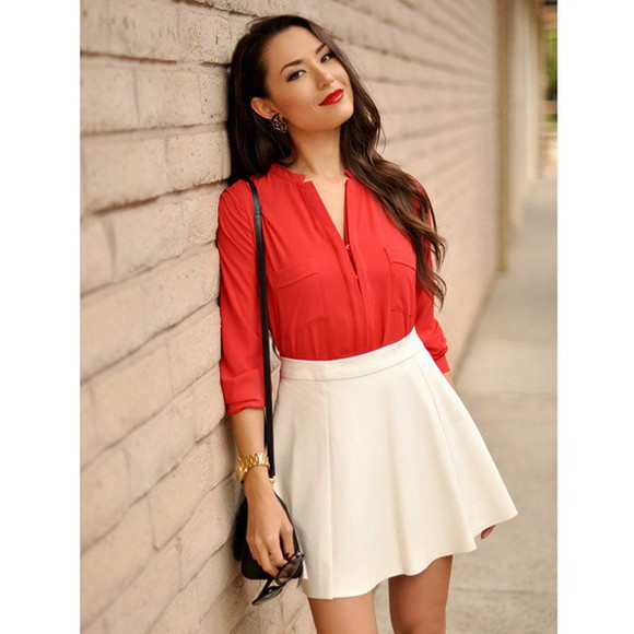 hapa time hapatime girly office officeoutfit red shirt long sleeves long sleeve shirt white skirts white skirt