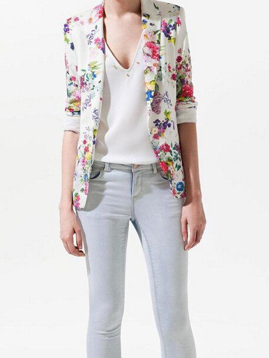 Multicolor floral white single button slim blazer