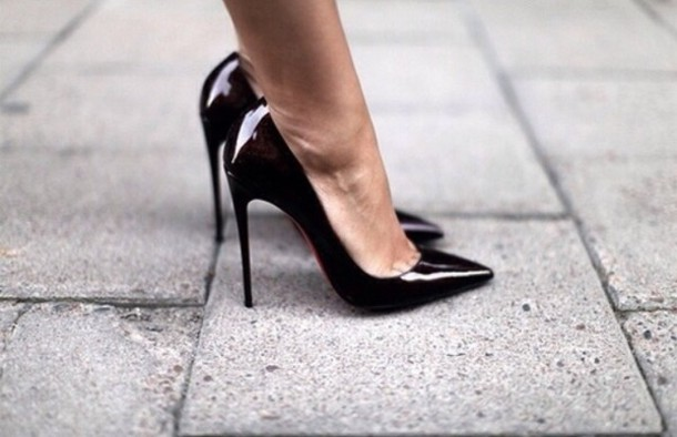 Shoes: black, black shoes, black heels, ️, tumblr, black ...
