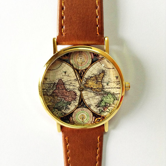 Map Watch, Vintage Style Leather Watch, Women Watches, Boyfriend Watch, World Map, Tan, Brown,
