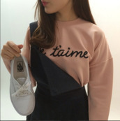 sweater,sweatshirt,je t'aime,pink,french,love