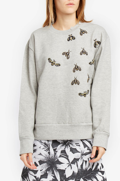 Stella Mccartney Embroidered Sweatshirt Grey Melange/natural Women