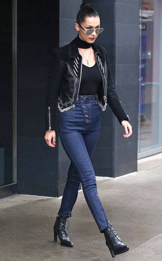 jacket denim jeans spring outfits bella hadid streetstyle model off-duty top high waisted
