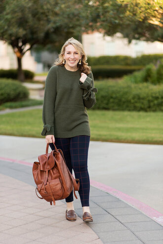 glitter&spice blogger sweater pants bag shoes fall outfits green sweater backpack brown backpack loafers