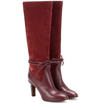 knee-high boots high boots leather suede red shoes