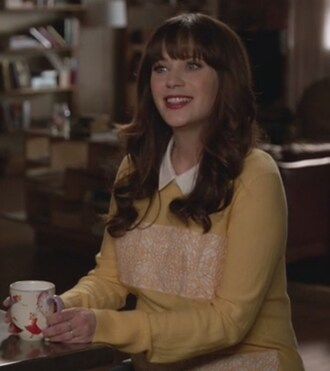 sweater yellow embroidered zooey deschanel jessica day new girl