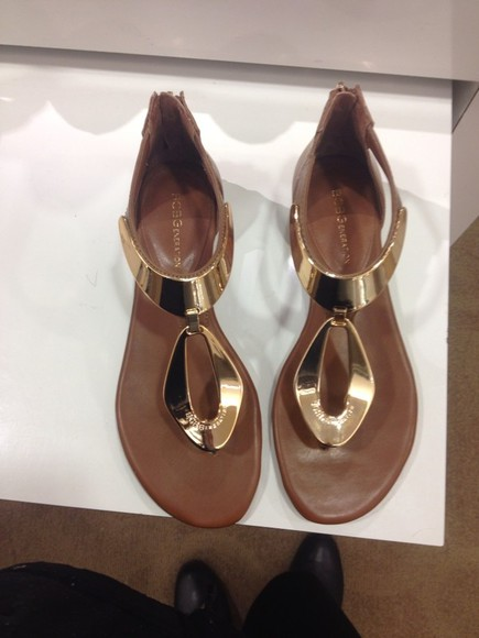 shoes brown shoes bcbgeneration macy's gold flat sandals