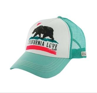 hat teal california love trucker hat