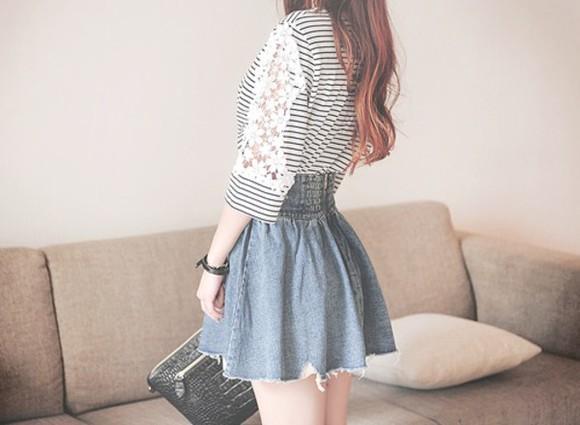 denim skirt denim kawaii asian fashion stripes