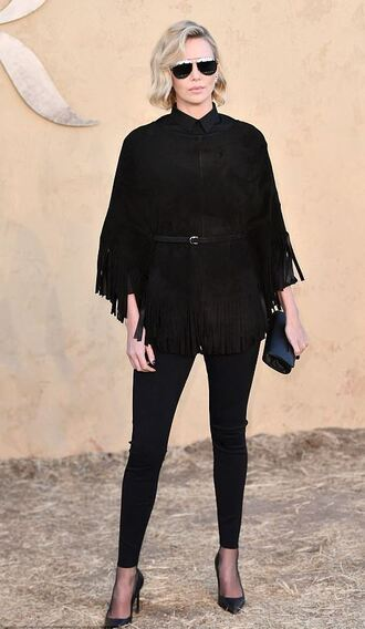 blouse top all black everything pumps charlize theron