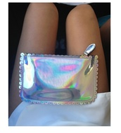 bag,purse,holographic,silver,holographic purse,zip,georgeous,instagram