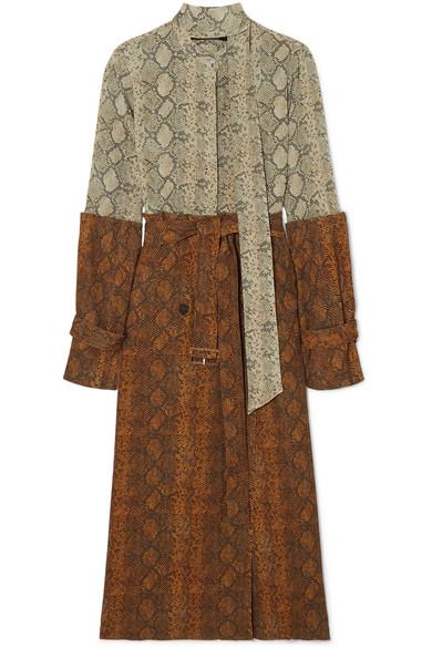 Rokh - Paneled snake-print silk crepe de chine and chiffon midi dress