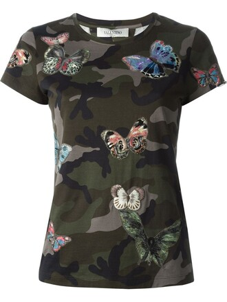 t-shirt shirt embroidered butterfly green top