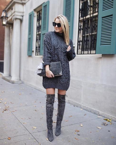 sweater tumblr grey dress knit knitwear knitted dress sweater dress boots grey boots over the knee boots over the knee sunglasses all grey everything