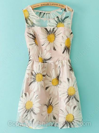 Apricot Round Neck Sleeveless Floral Print Organza Dress - HandpickLook.com