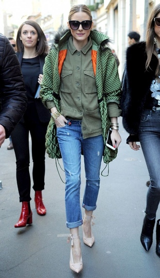 jacket jeans blogger streetstyle shirt olivia palermo fashion week 2017 milan fashion week 2017