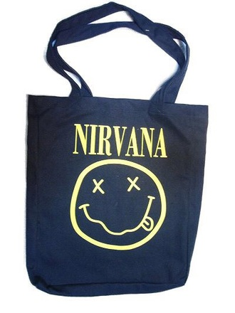 bag black yellow grunge nirvana nirvana handbag