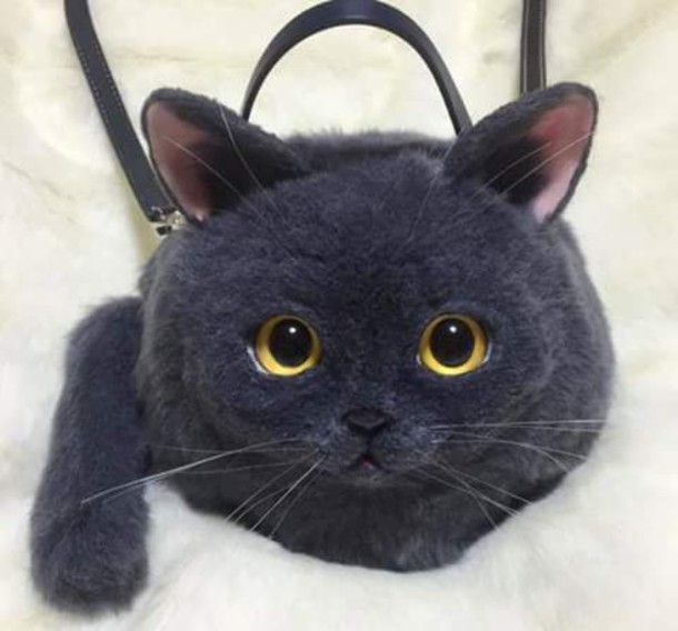 bag cats purse cats cats creepy realistic black goth hipster shoulder bag  carrier fur animal accessories 05b6a62b3ddec
