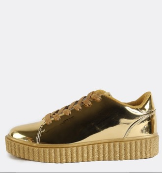 shoes girl girly gold sneakers creepers platform shoes platform sneakers metallic metallic shoes puma
