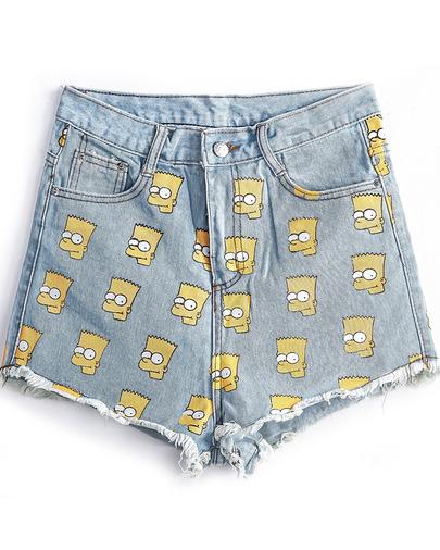 Blue Fringe Simpson Print Denim Shorts - Sheinside.com