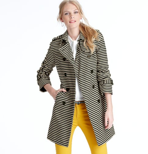 Corded dobby striped trench
