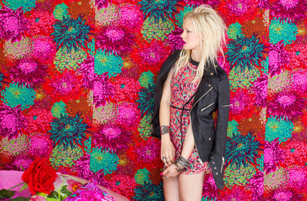 dress nastygal nastygal shopnastygal.com nastygal.com printed dress mixed printed leather jacket biker jacket spiked leather jacket spiked moto jacket shakuhachi unif nasty gal exclusive unif x nasty gal jacket