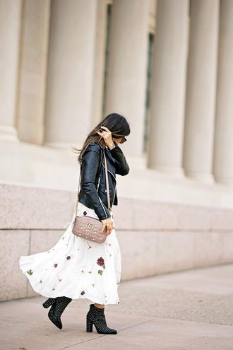 styleofsam blogger jacket dress jewels shoes bag sunglasses fall outfits ankle boots gucci bag leather jacket midi skirt