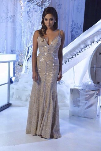 dress pretty little liars pll ice ball gown mermaid prom dresses silver emily fields shay mitchell prom dress