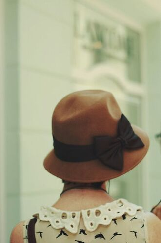 bows hat birds romantic brown hat