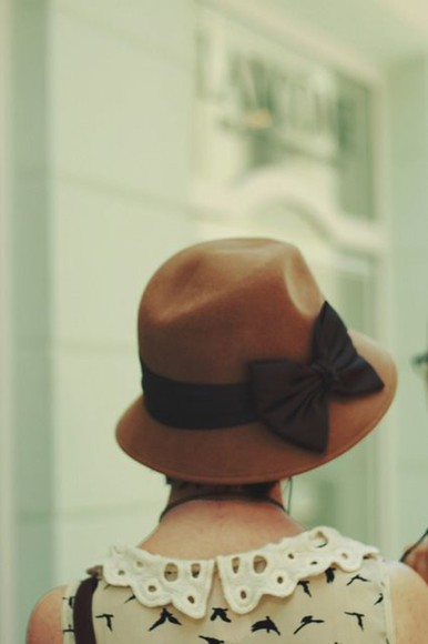 brown hat hat bows birds romantic