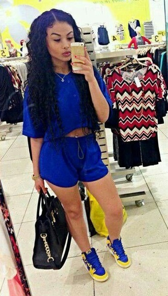 top blue blue shorts blue top yellow black bag sexy curvy casual chill out dope