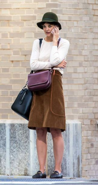 shoes skirt midi dress streetstyle fall outfits katie holmes