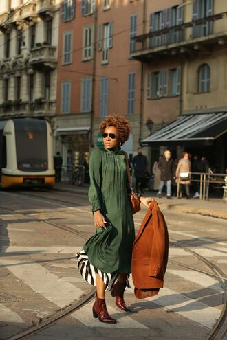 shoes tumblr boots brown boots ankle boots blazer corduroy dress maxi dress green green dress sunglasses