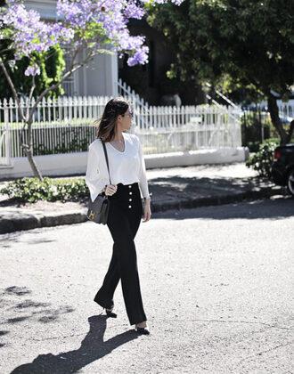 frontrowbeauty blogger top pants sunglasses bag jewels shoulder bag black pants high heel pumps high heels