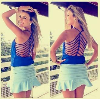 top blue skirt backless summer top shorts original