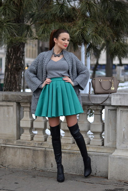 my silk fairytale blogger knitted cardigan grey circle skirt thigh high boots