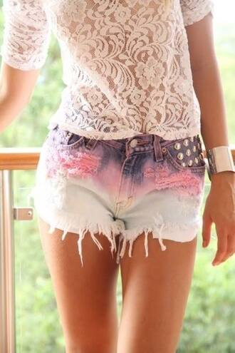 denim shorts shirt gold high waisted shorts colorful bracelets